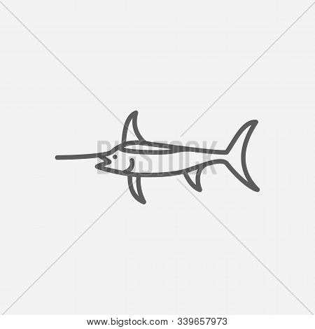 Swordfish Icon Line Symbol. Isolated Vector Illustration Of Icon Sign Concept For Your Web Site Mobi