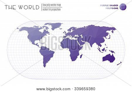 World Map With Vibrant Triangles. Eckert Iii Projection Of The World. Purple Shades Colored Polygons
