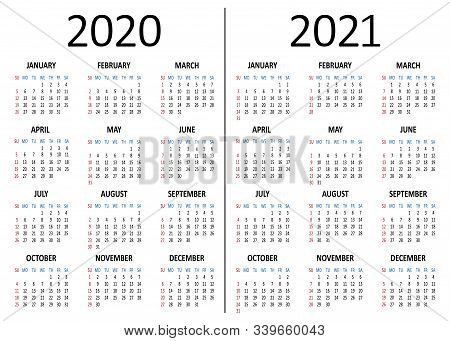 Yearly Calendar 2020, 2021. Week Starts From Sunday Vector Illustration