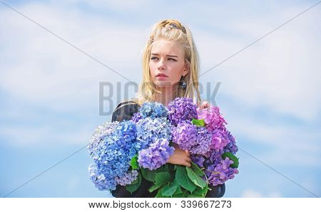 Girl Tender Blonde Hold Hydrangea Bouquet. Skin Care And Beauty Treatment. Springtime Bloom. Gentle