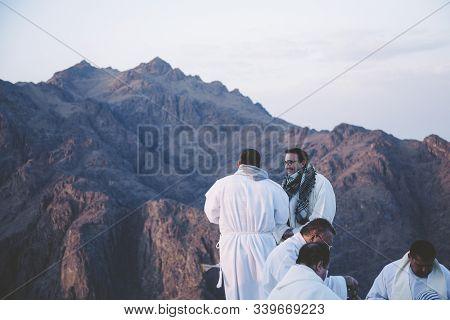 Mount Sinai, Sharm Ash Sheikh, Egypt - 25 October 2017: Priests On The Mount Sinai In The Sinai Peni