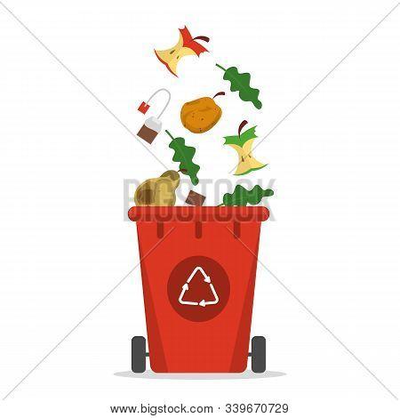 Organic Waste Falling In The Trash Bin Vector Isolated