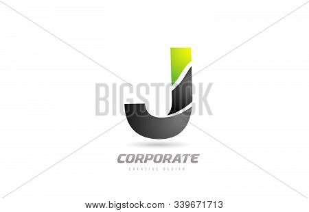 Black Green Logo Letter J Alphabet Design Icon For Business. Suitable For Company Logotype
