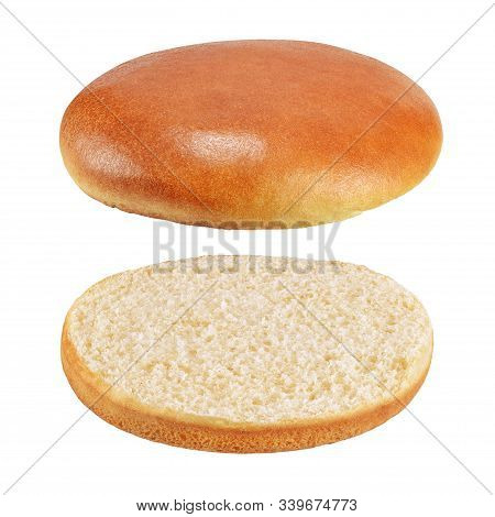 Sesame-free Flying Hamburger Bread Or Bun Without Anything Isolated On White Background