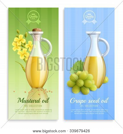 Mustard Realistic Banner Set With Mustard Oil And Grape Seed Oil Oil Collection Descriptions Vector