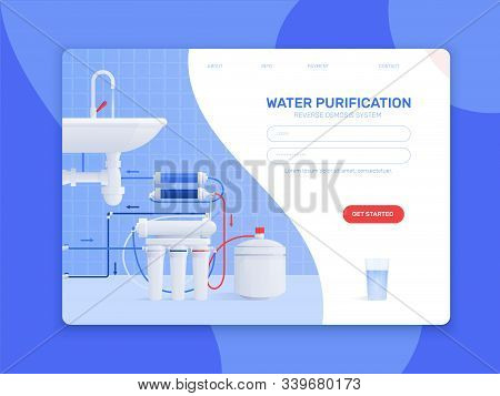 Colored Flat Water Filter Composition Or Landing Page With Water Purification Reverse Osmosis System
