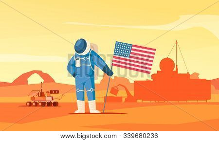 Mars Colonization Flat Composition With Prominent Astronaut Planting Flag Figure Rover Construction