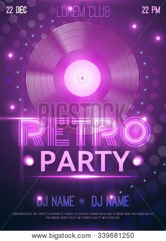 Retro Party Club Announcement Invitation  Poster With Realistic Vinyl Record Disc Glowing Purple Lig