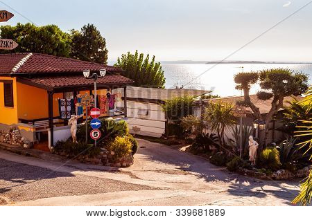 Camping La Ca, Garda Lake, Lombardy, Italy - September 12, 2019: Cozy Bungalows, Houses With Balconi