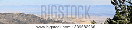 Rocky Mountain Wasatch Front Peaks, Panorama Landscape View From Butterfield Canyon Oquirrh Range By