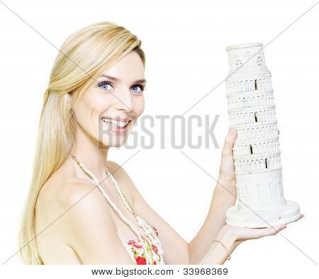 Woman Holding The Leaning Tower Of Pisa