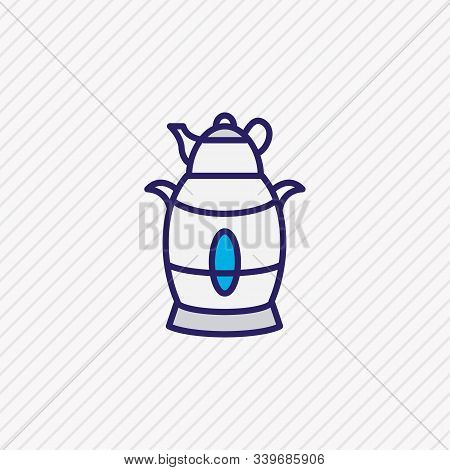 Vector Illustration Of Electric Samovar Icon Colored Line. Beautiful Appliance Element Also Can Be U