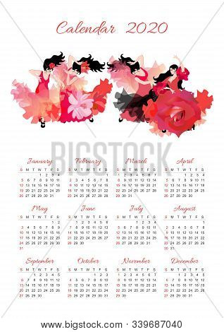 Calendar For 2020 Year. Beautiful Design With Ensemble Of Spanish Dance. Four Beautiful Black-haired