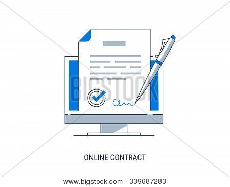 Vector Concept Of E-signature. Signing A Contract With An Electronic Signature. Flat Modern Vector I