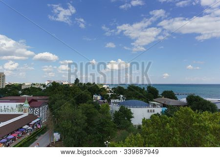 Yevpatoria, Crimea, Russia-september 7, 2019: Top View Of The Resort Town On The Black Sea Coast