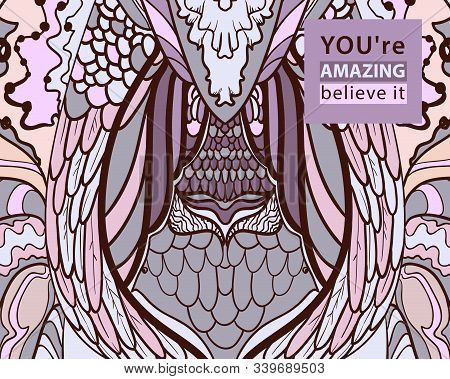 Abstract Pattern With Wings Pink Vector. Elegant And Plastic Lines, Freehand Drawing, Free Drawing,