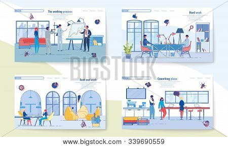 Process, Hard Work, Rest And Coworking Place. Pages Internet Site About Pleasant Work In Office, And