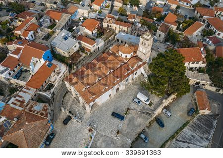 Aerial View Of Traditional Mountain Cyprus Village Pano Lefkara With Red And Orange Roofs Of Buildin
