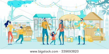 Happy Family Shopping In Street Market Cartoon. Parents With Children Choosing Food, Bakery, Fruits