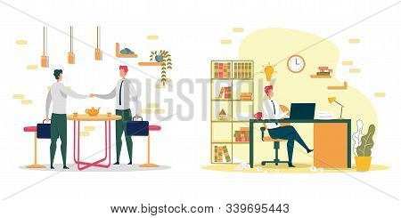 Work With Client And Development Order Fulfillment. Company Employee Met With Client In Cafe, Discus