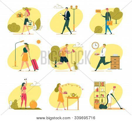 Different Characters Professions And Affairs. Woman Goes Shopping, Traveler With Suitcase, Athlete D