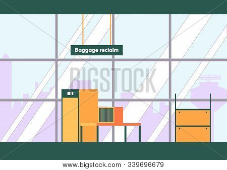Baggage Claim Area Empty Interior In Airport Terminal Vector Illustration. Luggage Reclaim Room, Sec