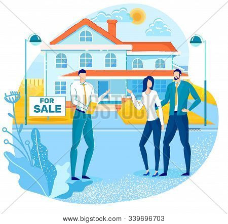 Buying House, Real Estate Property On Sale Flat Vector Concept With Real Estate Agency Agent, Seller