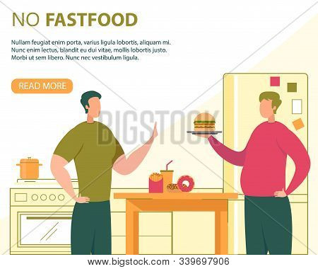 Healthy Nutrition Without Fast Food Flat Vector Banner, Poster Template With Healthy Man Refusing Ea