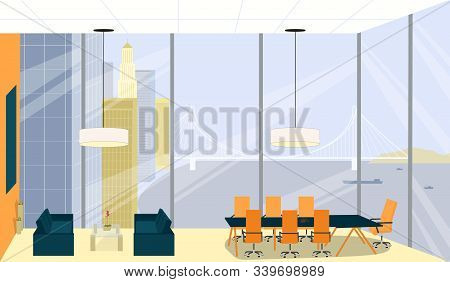 Boss Meeting, Room Interior With High Ceiling. Office For Important Negotiations With Significant Cl