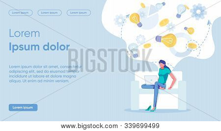 Illustration Thinking About Limitations Idea. Banner Slender Woman Sits On Couch, Legs Crossed And T
