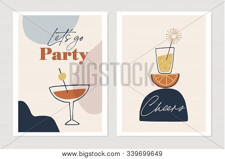 Set Of New Years Greeting Cards, Party Invitations. Cocktails, Drink Glasses With Orange Fruit And S
