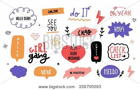 Modern Doodle Social Power Lettering Sticker Pack With Speech Bubbles, Typographic Message Set, Vect