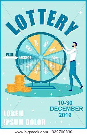 Raffle Prizes Brochure, Leaflet Vector Template. Lottery Announcement Flyer, Jackpot Meter Booklet.
