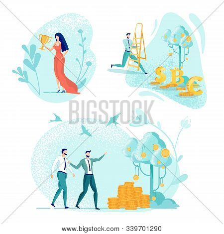 Lady In Red Dress With Golden Champion Cup. Office Worker With Step Ladder Hurrying To Harvest Rape