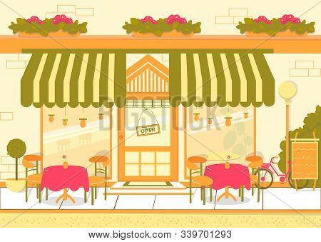 Street Restaurant Or European Cuisine Cafe Building Facade With Tables And Chairs. Catering Restaura