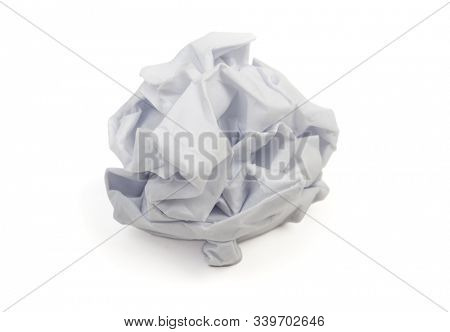 Wet paper ball. Crumpled wrinkled wastepaper isolated on white