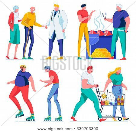 Senior Couple Coming To Visit Doctor Flat Catoon Vector Illustration. Two Friends Grilling Meat, Bar