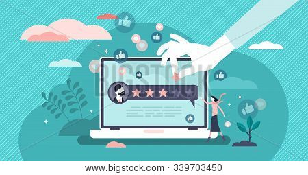 Online Product Review Vector Illustration. Flat Tiny Feedback Rate Persons Concept. Quality Analysis