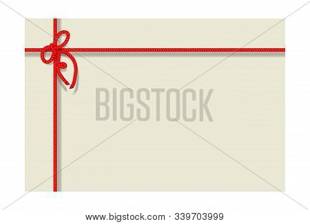 Card With Bakers Twine Bow And Rope.