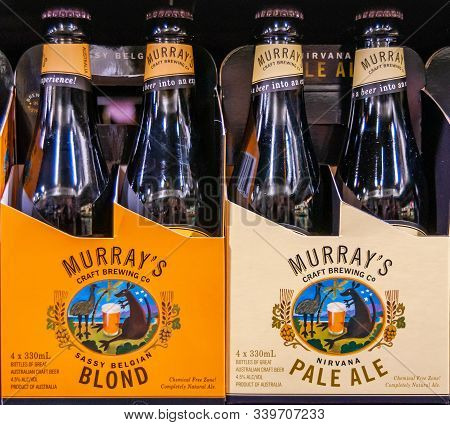 Melbourne, Australia - December 17, 2009: Murphy Liquor Store. Closeup Of Display On Shelf Of Murray