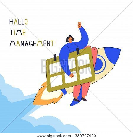 Time Management Concept Planning.tiny Young Woman On The Rocket Hold Big Calendar.cartoon Character