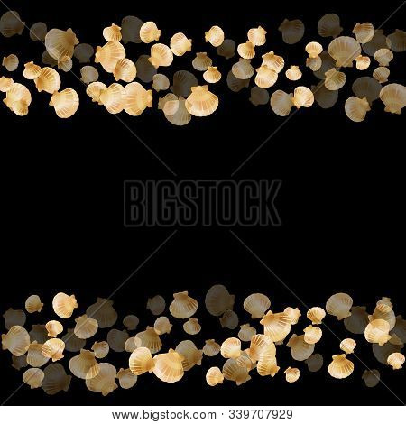 Gold Seashells Vector, Golden Pearl Bivalved Mollusks. Exotic Scallop, Bivalve Pearl Shell, Marine M