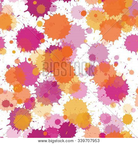 Paint Transparent Stains Vector Seamless Grunge Background. Random Ink Splatter, Spray Blots, Dirty