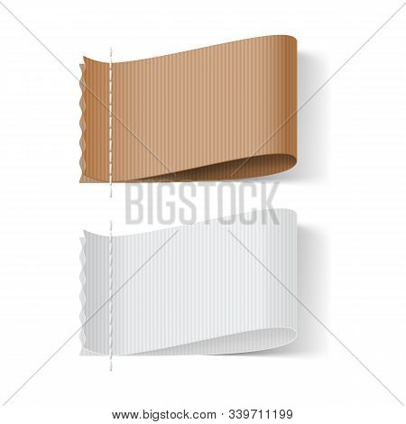 Brown And White Clothing Label On White Background. Clothing Fabric Tag Stitch, Realistic Bright Bla