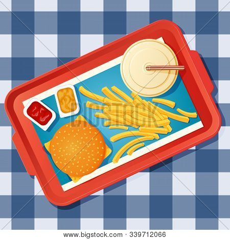 Fast Food Lunch. Vector Icon, Poster Template. Cheeseburger, Drink, French Fries And Open Dip Packet