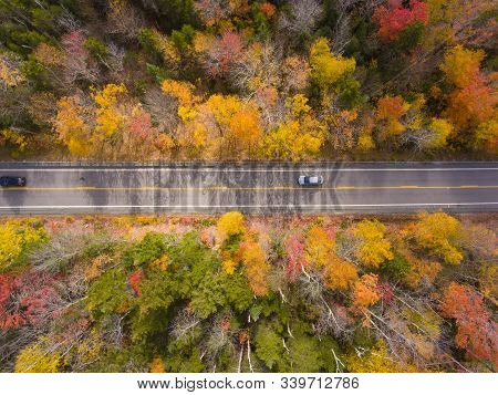 White Mountain National Forest Fall Foliage On Kancamagus Highway Near Hancock Notch Top View, Town
