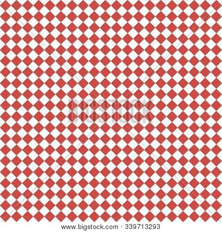 Pattern Of White And Red Rhombuses. Diagonal Checkered Background. Diagonal Chess Pattern. Argyle Pl