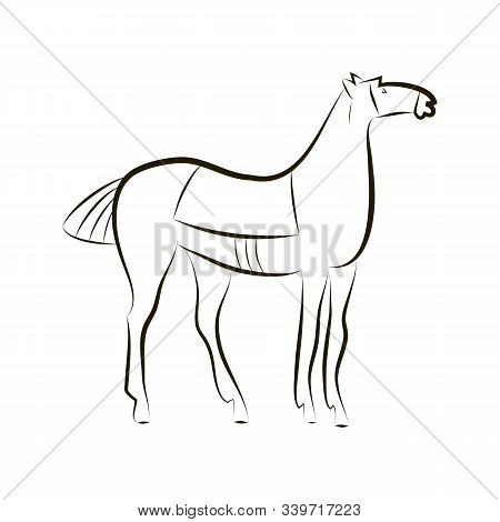 Standing Horse With Saddle. Black And White Stallion Contour. Minimalistic Style. Horse Logo. Vector