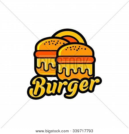 Vector Drawing Of Hamburger With Cheese, Tomatoes, Lettuce, Onion, Catsup, Bun, Cucumber In Cartoon
