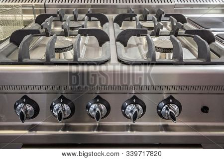 Gas Stove, A Professional One Made Of Steel Aluminium, On Display, Brand New, With Unused Burners. T